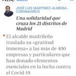 Alcalde de Madrid traslada su gratitud a Remar y más de 400 empresas y particulares por ola de solidaridad
